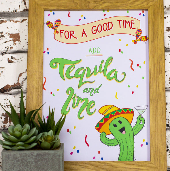 For A Good Time Add Tequila and Lime. Funny Wall Art, Kitchen Decor, A4 Print - fizzi~jayne