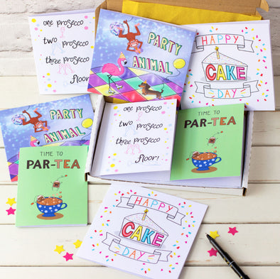 Box of 8 birthday cards. illustrated by fizzi~jayne with cute characters, handlettering prosecco, tea, cake, party