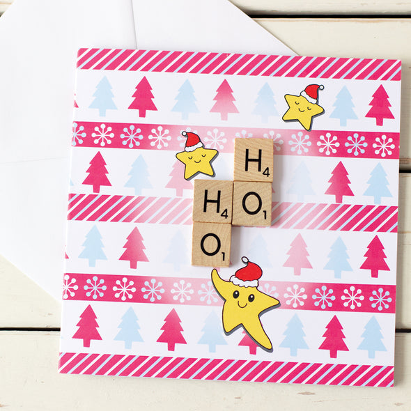 Cute Scrabble Inspired Christmas Card and envelope