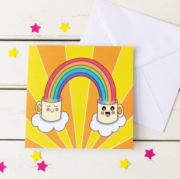 Send a Smile. Happy, Cute Mugs and Rainbows Greeting Card.