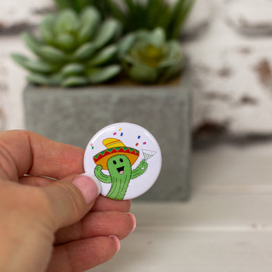 Cute Illustrated Cactus with a Cocktail Round Button Badge - fizzi~jayne