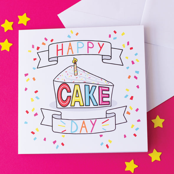 Happy Cake Day, Illustrated Birthday Card