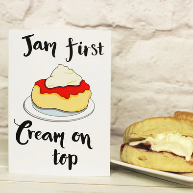 Jam first or Cream First? Scone Greeting card