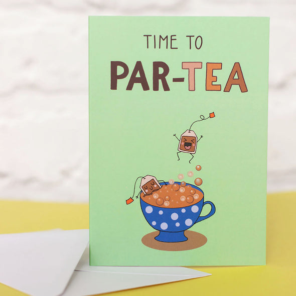 Time to party illustrated card. Cute kawaii style characters