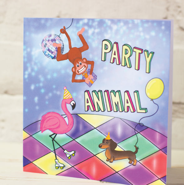 Illustrated Cute Animals at a Disco. Fun and Colourful Birthday Card.