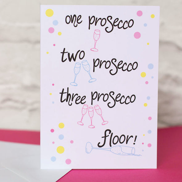 Prosecco celebration card. Handlettering