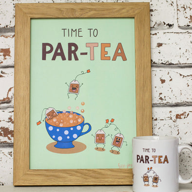 Time To PAR-TEA. Funny Wall Art. A4 Print - fizzi~jayne