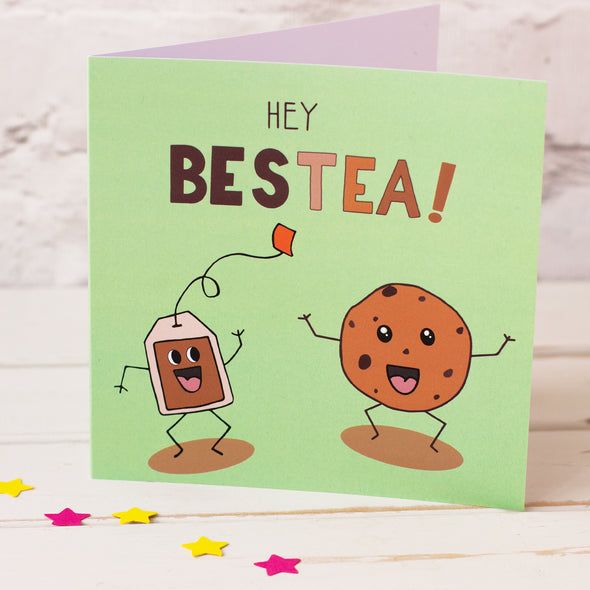 Hey Bestea card. illustrated with a cute and happy teabag and his best mate the cookie