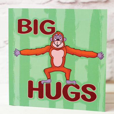 illustrated card of a orangutan and words, BIG HUGS. illustration by fizzi~jayne