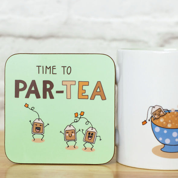 Time to PAR-TEA. Set of 2 Funny Coasters for tea lovers - fizzi~jayne