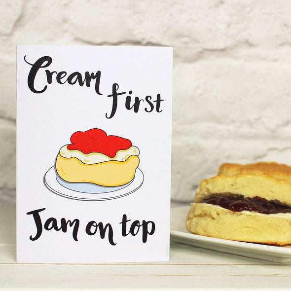 Jam first or Cream First? Scone Greeting card - fizzi~jayne