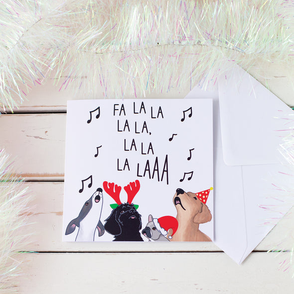 Dog Carol Singers Cute Christmas Card