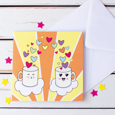Romantic Mugs with Rainbow Hearts. Cute and Colourful Anniversary Card