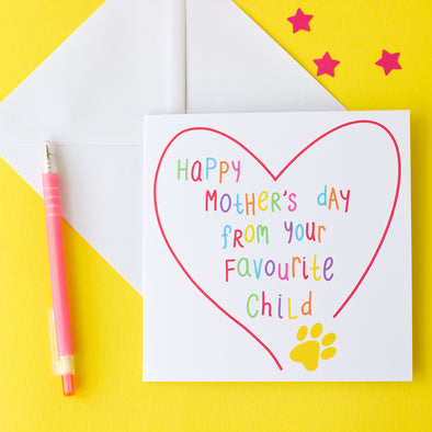 Happy Mother's day card from your favourite child with a paw print. colourful Mother's Day card from the cat or dog.