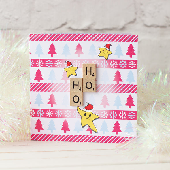 Fun Scrabble Inspired Christmas Card with Kawaii style illustration