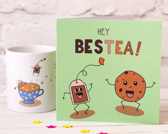 Hey Bestea! A Fun illustrated Greeting Card of a Happy Cookie and Teabag for Your Bestie