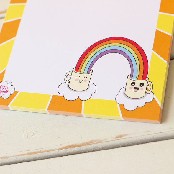 Kawaii style mugs with rainbows. A5 Notepad. Stationery by fizzijayne