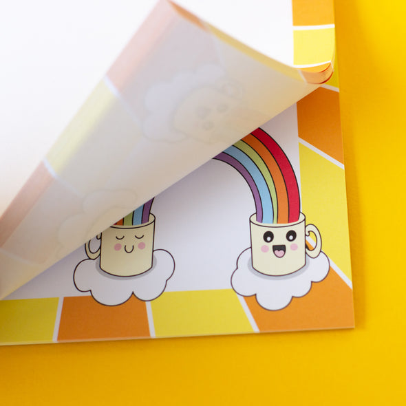Cheerful stationery. Bright colours. Sunshine and rainbows. Cute, illustrations of mugs
