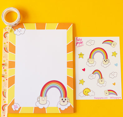 Stationery set, A5 notepad, washi tape and A6 sticker sheet. Colourful rainbows, sunshine and cute coffee mug illustrations