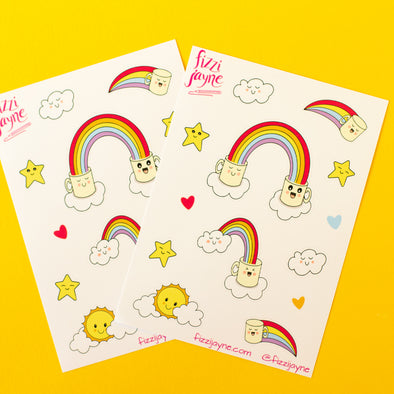 cute illustrated mugs with rainbows sticker sheets
