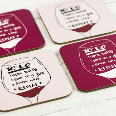 Wine To Do List, Funny Coaster - fizzi~jayne