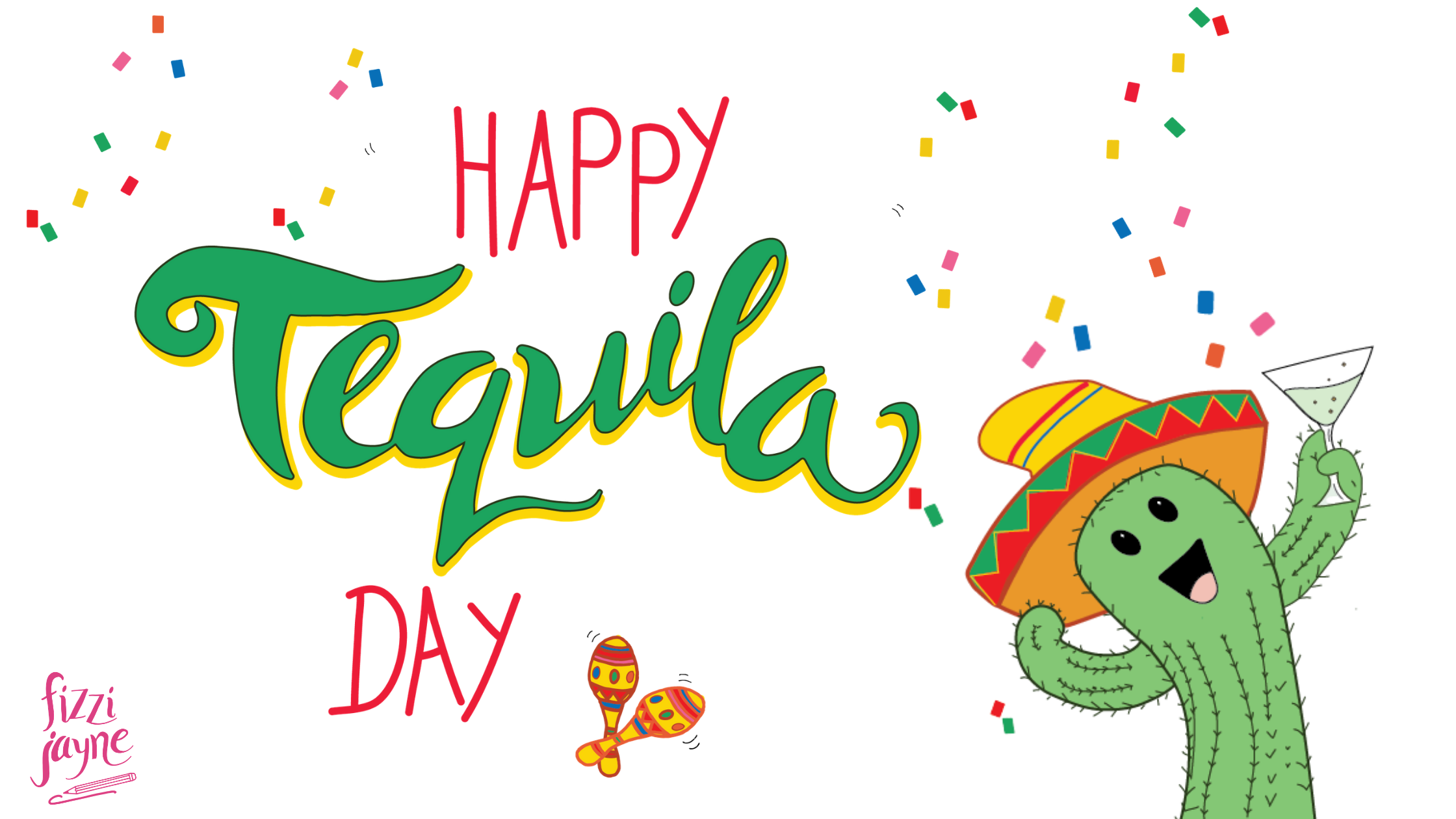 Happy Tequila Day illustration with a cute cartoon cactus