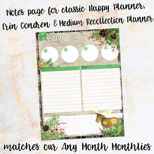 MOOSE Notes page - ECLP, Happy Planner classic, Recollection medium - sticker winter snow woodland