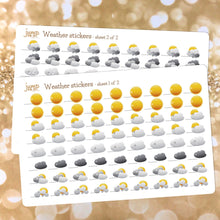 Load image into Gallery viewer, Weather Planner Sticker Sheets - includes 144 stickers - 2 sheets included - snow sun wind rain clouds