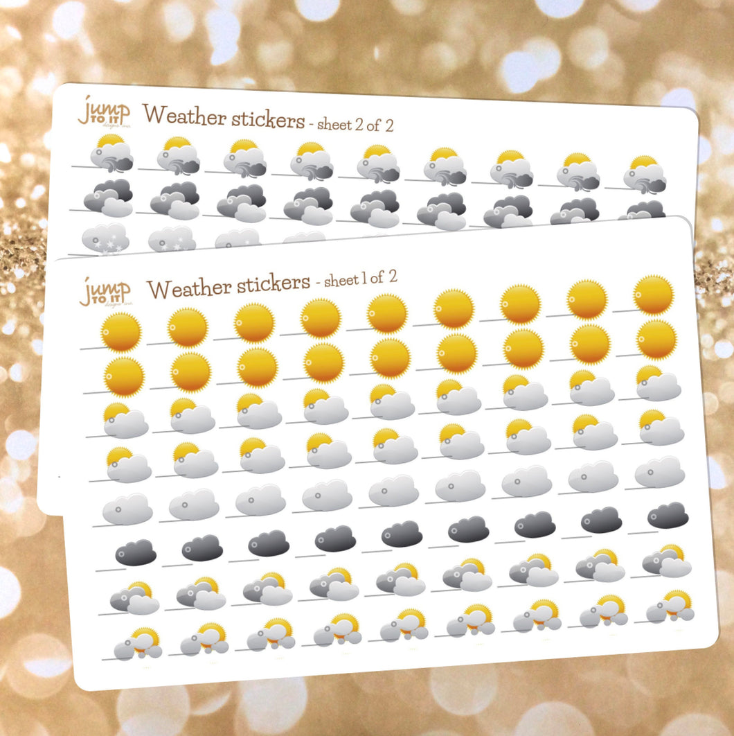 Weather Planner Sticker Sheets - includes 144 stickers - 2 sheets included - snow sun wind rain clouds