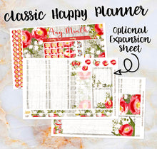 Load image into Gallery viewer, Any Month Monthly - WINTER ROSES monthly view spread - ECLP, Happy Planner Classic Big Mini, Recollection - pick a month floral