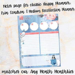 WINTER BLOOMS Notes page - ECLP, Happy Planner classic, Recollection medium - sticker floral polar bear penguin winter snow pink