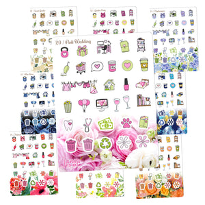 Floral Functional Sampler stickers -Happy Planner Erin Condren Recollection - flowers Chores workout cleaning bills shopping laundry