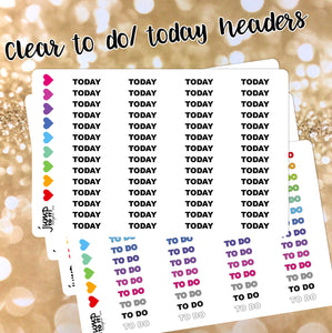 Clear To Do / Today Custom BLOCK headers stickers - Erin Condren, Happy Planner, Recollection - rainbow