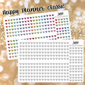 Heart checklists - clear or matte vinyl stickers - Erin Condren vertical horizontal, Happy Planner, Recollection - rainbow