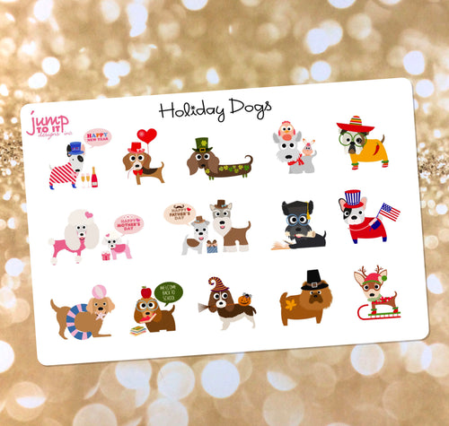 Holiday Dog stickers - for Erin Condren - New year's Valentine's St Patricks Mother's Fathers Day 4th July Halloween Thanksgiving