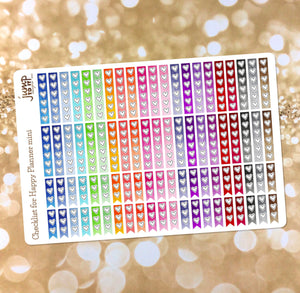 Checklist hearts for the Happy Planner mini - flags stickers rainbow watercolor personal