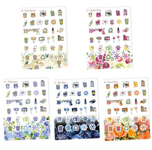 Load image into Gallery viewer, Floral Functional Sampler stickers -Happy Planner Erin Condren Recollection - flowers Chores workout cleaning bills shopping laundry