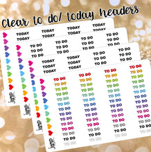 Load image into Gallery viewer, Clear To Do / Today Custom BLOCK headers stickers - Erin Condren, Happy Planner, Recollection - rainbow