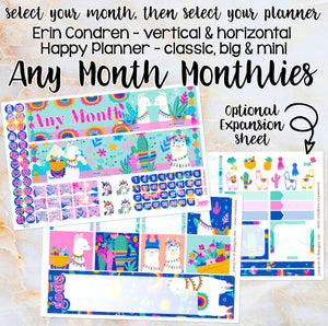 Any Month Monthly - LLAMA LOVE monthly view spread-ECLP, Happy Planner Classic Big Mini, Recollection -pick a month summer wild go