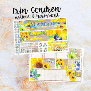 Any Month Monthly -SUNFLOWERS monthly view spread - ECLP, Happy Planner Classic Big Mini, Recollection - pick a month summer