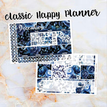 Load image into Gallery viewer, Any Month Monthly -BLUE ROSE monthly view spread - ECLP, Happy Planner Classic Big Mini, Recollection - pick a month floral