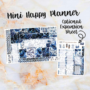 Any Month Monthly -BLUE ROSE monthly view spread - ECLP, Happy Planner Classic Big Mini, Recollection - pick a month floral