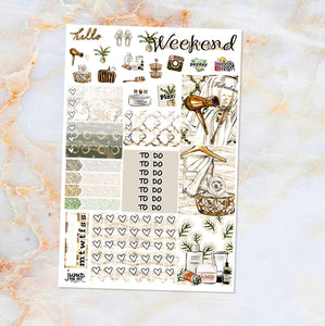 Spa Day sampler stickers - for Happy Planner, Erin Condren Vertical and Horizontal Planners - spa relax calm me time