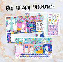 Load image into Gallery viewer, Any Month Monthly - LLAMA LOVE monthly view spread-ECLP, Happy Planner Classic Big Mini, Recollection -pick a month summer wild go