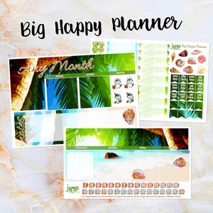 Any Month Monthly -ISLAND LIFE beach monthly view spread - ECLP, Happy Planner Classic Big Mini, Recollection -pick a month summer