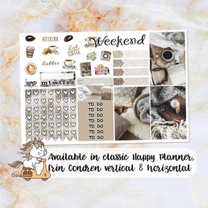 Stay Toasty sampler stickers - for Happy Planner, Erin Condren Vertical and Horizontal Planners - coffee neutral