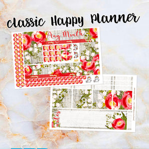 Any Month Monthly - WINTER ROSES monthly view spread - ECLP, Happy Planner Classic Big Mini, Recollection - pick a month floral