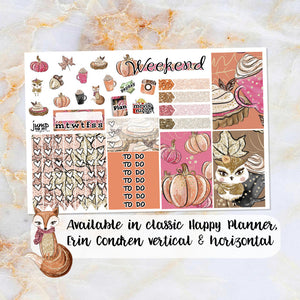 Foxy Fall sampler stickers - for Happy Planner, Erin Condren Vertical and Horizontal Planners - fall leaves fox autumn