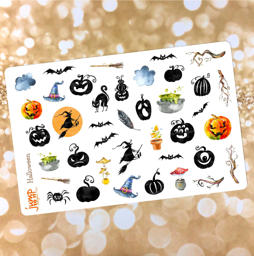 Halloween 2 stickers - for Erin Condren Happy Planner - fall autumn October pumpkin bats ghosts