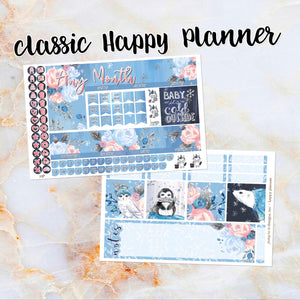 Any Month Monthly - WINTER BLOOMS monthly view spread - ECLP, Happy Planner Classic Big Mini, Recollection - pick a month